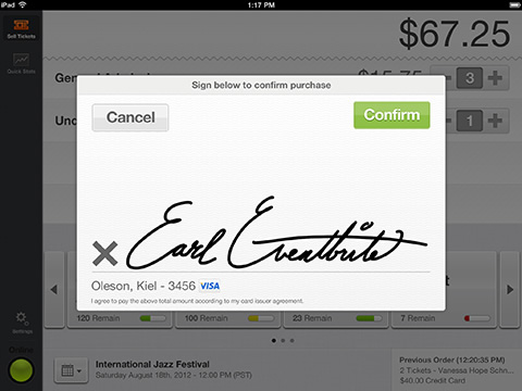 Slide - Sell Tickets - Credit Card Signature