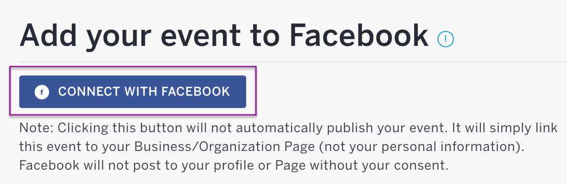 Click the blue Connect with Facebook button and allow access for Eventbrite.