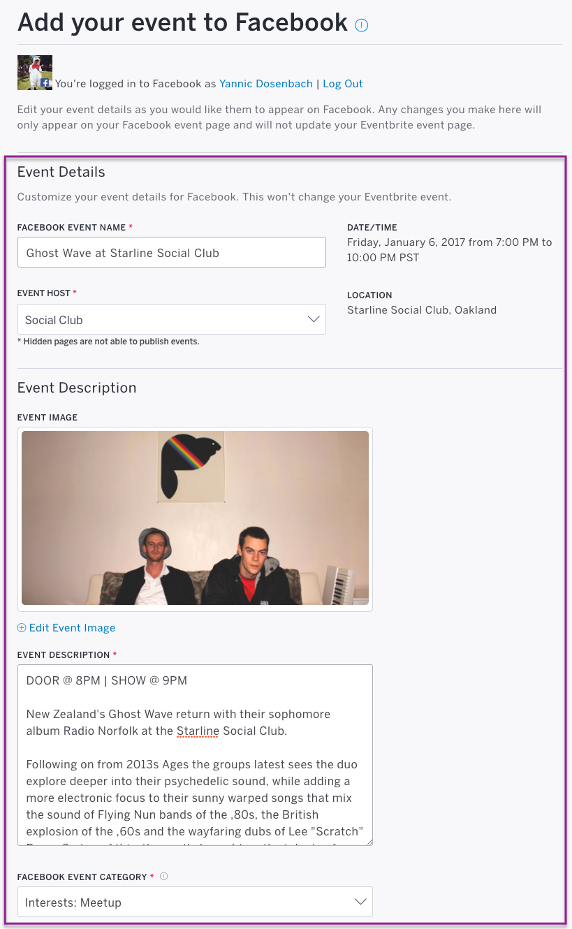 Edit event details before you publish to Facebook.