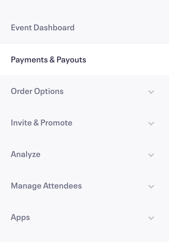 Payment Options are accessible from the Event Dashboard. This is a yellow bow on the top left if we're missing details.
