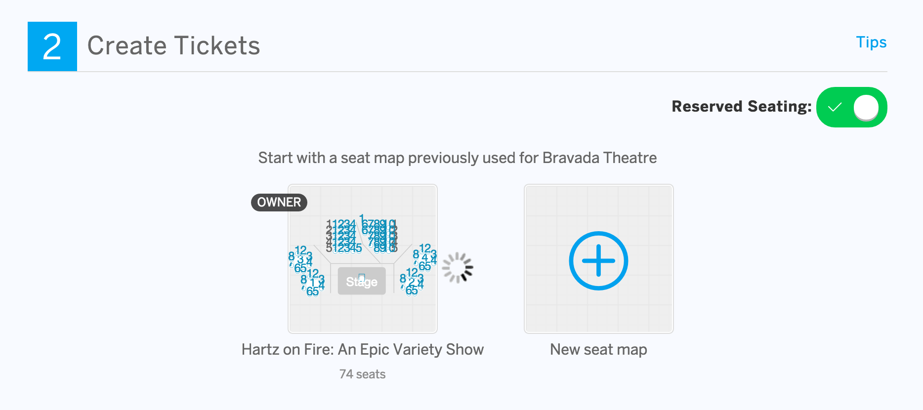 Other Seat Maps for this venue will appear when you set the location of an event. If you created the Seat Map, you'll see a label of Owner.