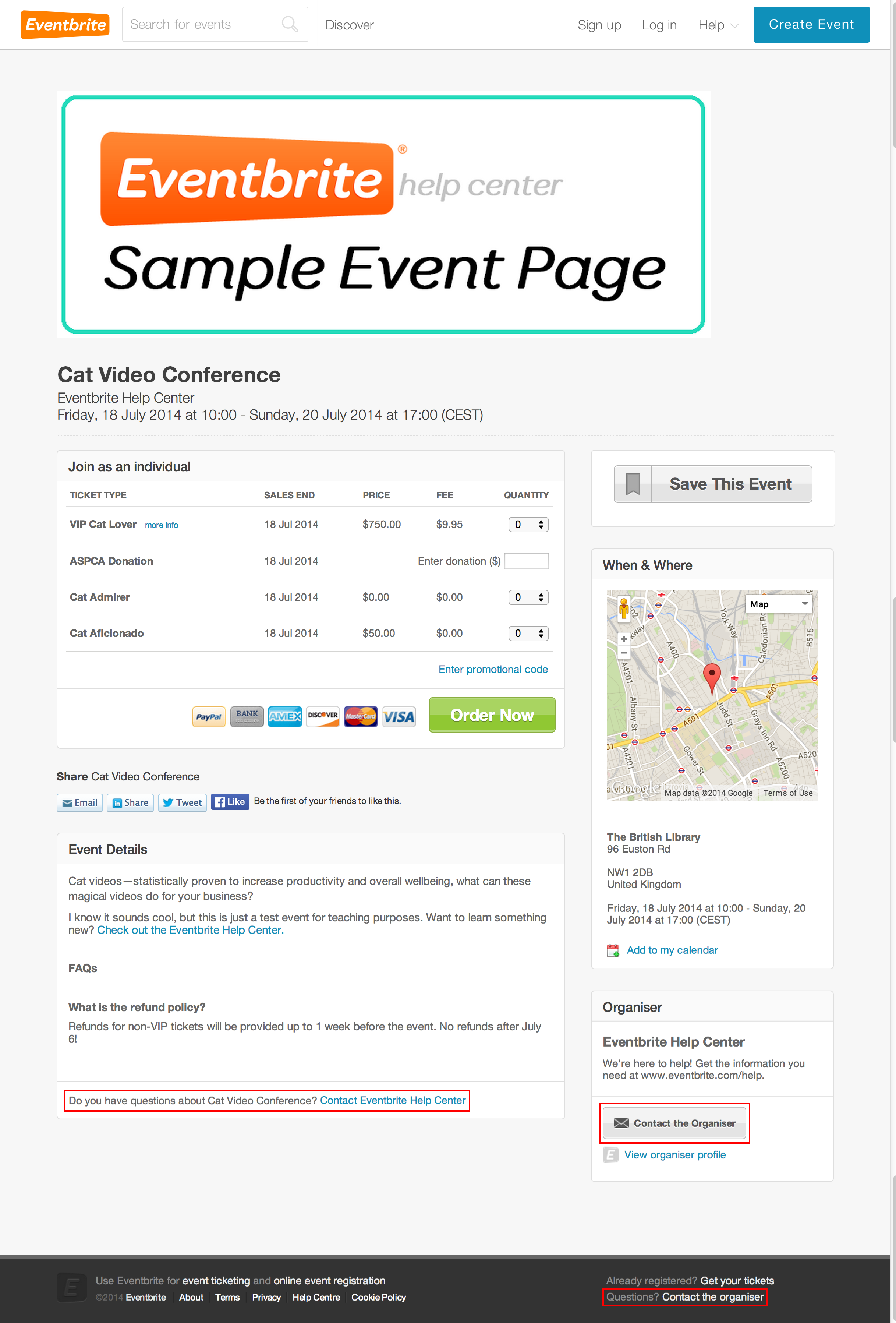 There are links to contact the event organiser in the header, footer, event details, and right-hand sidebar for the event.