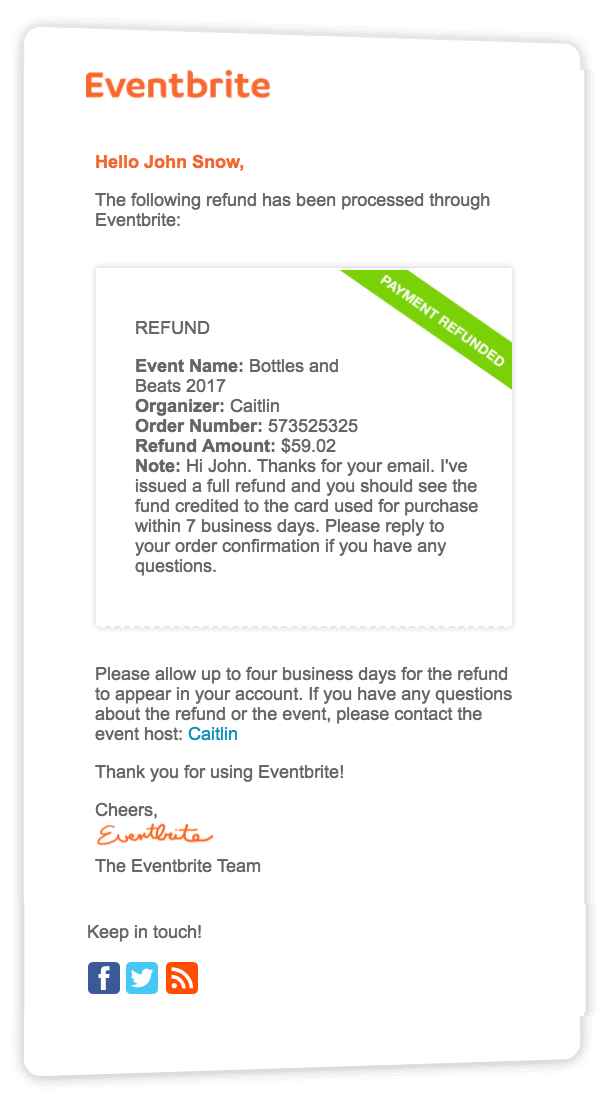 The email attendees receive includes the event name, organizer name, order number, refund amount, and your custom note.