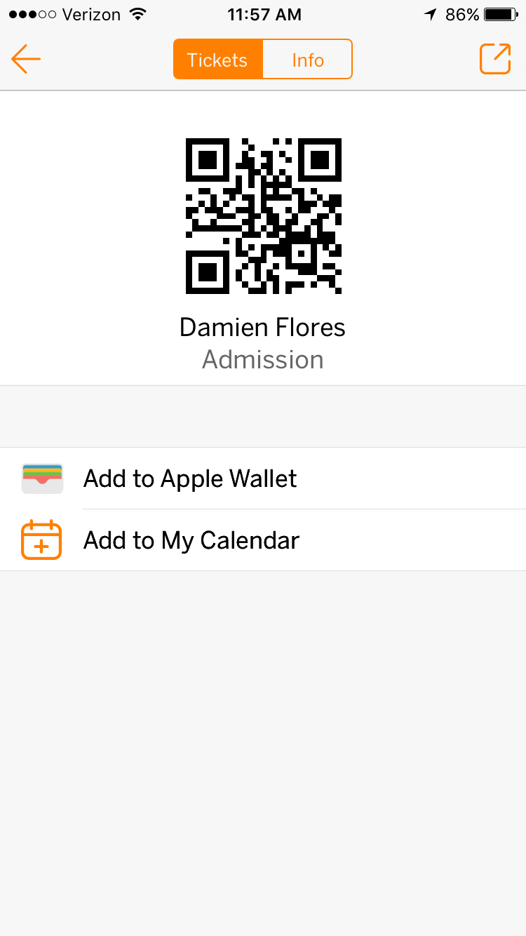 The Eventbrite app allows you to use your mobile device to scan in for an event. You can use the Add to Passbook button in the lower right-hand corner as well.