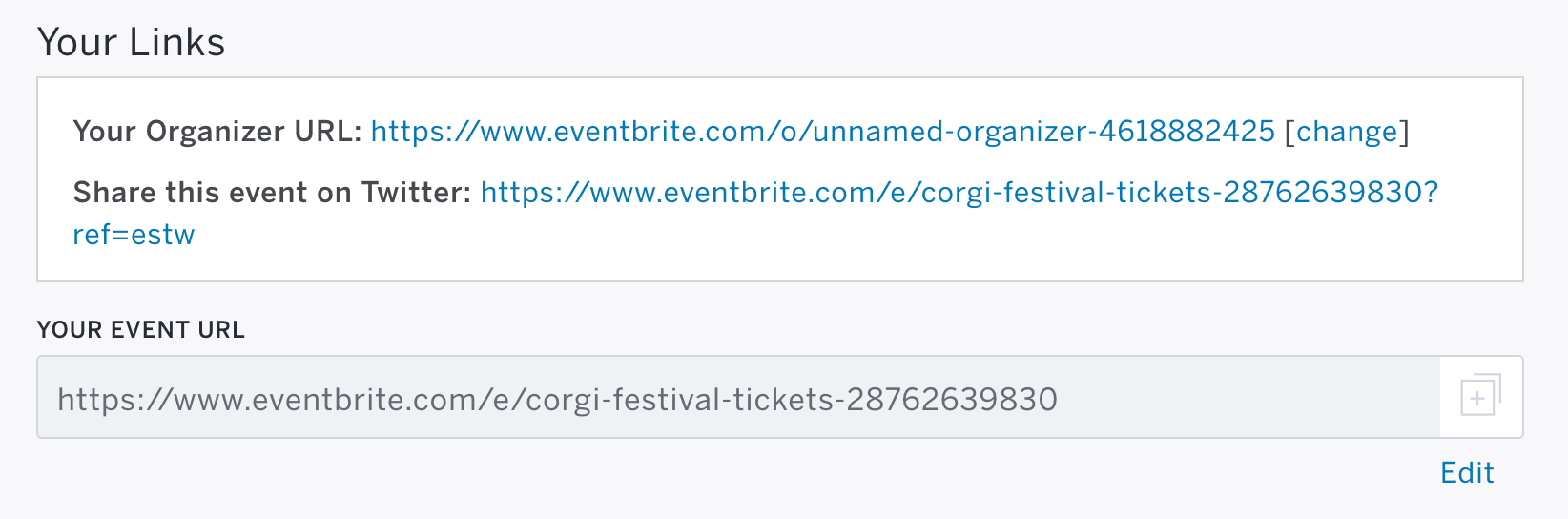 Customize your event URL from the Event Dashboard in Manage.