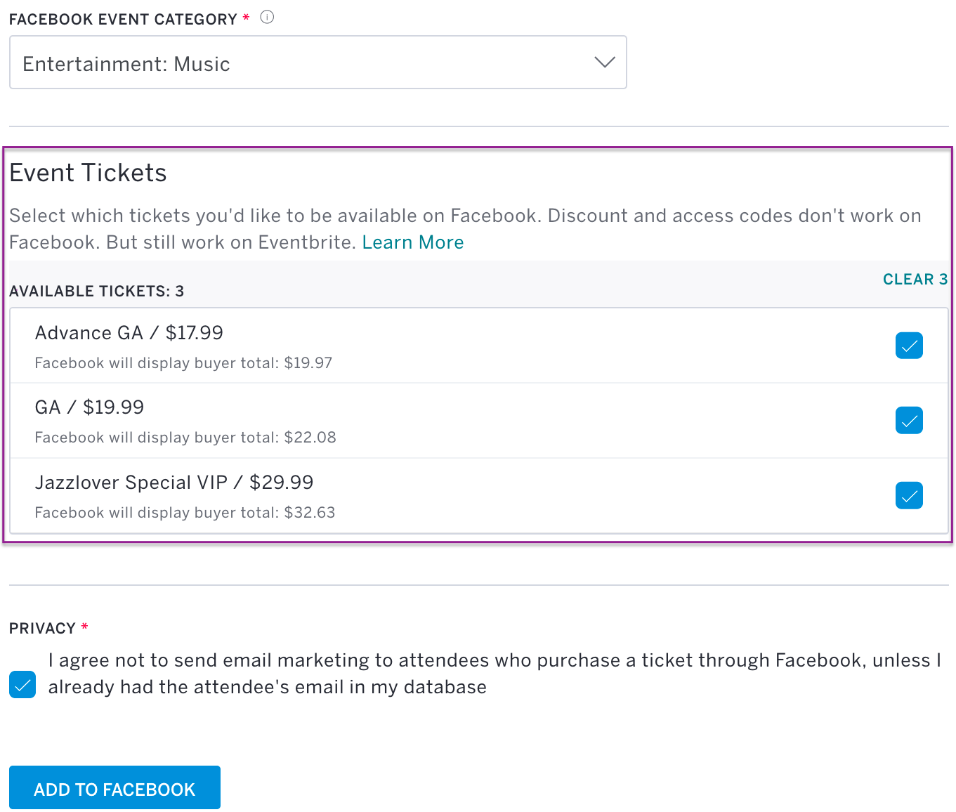 Select A Ticket Type To Promote On Facebook