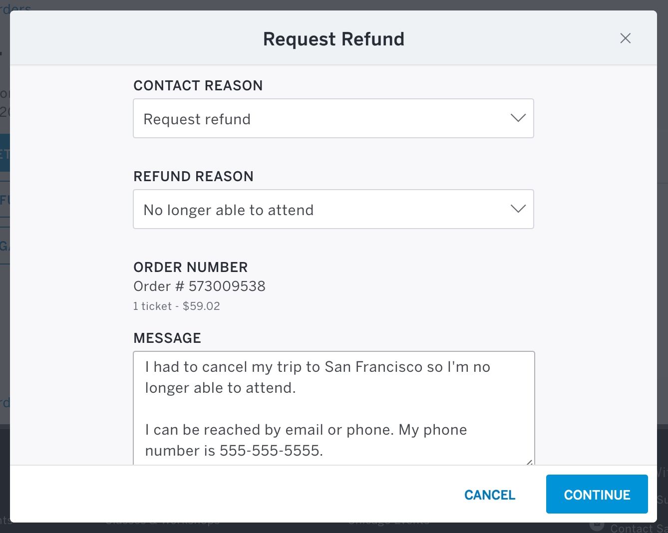 The Request a Refund button is to the left of Contact the Organizer from your order details page.